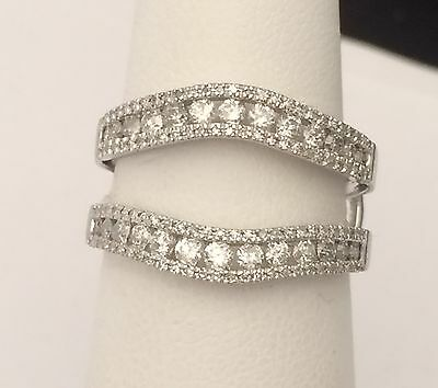 10k White Gold  Enhancer Prongs Set Diamonds Ring Guard Wrap Jacket Her Woman