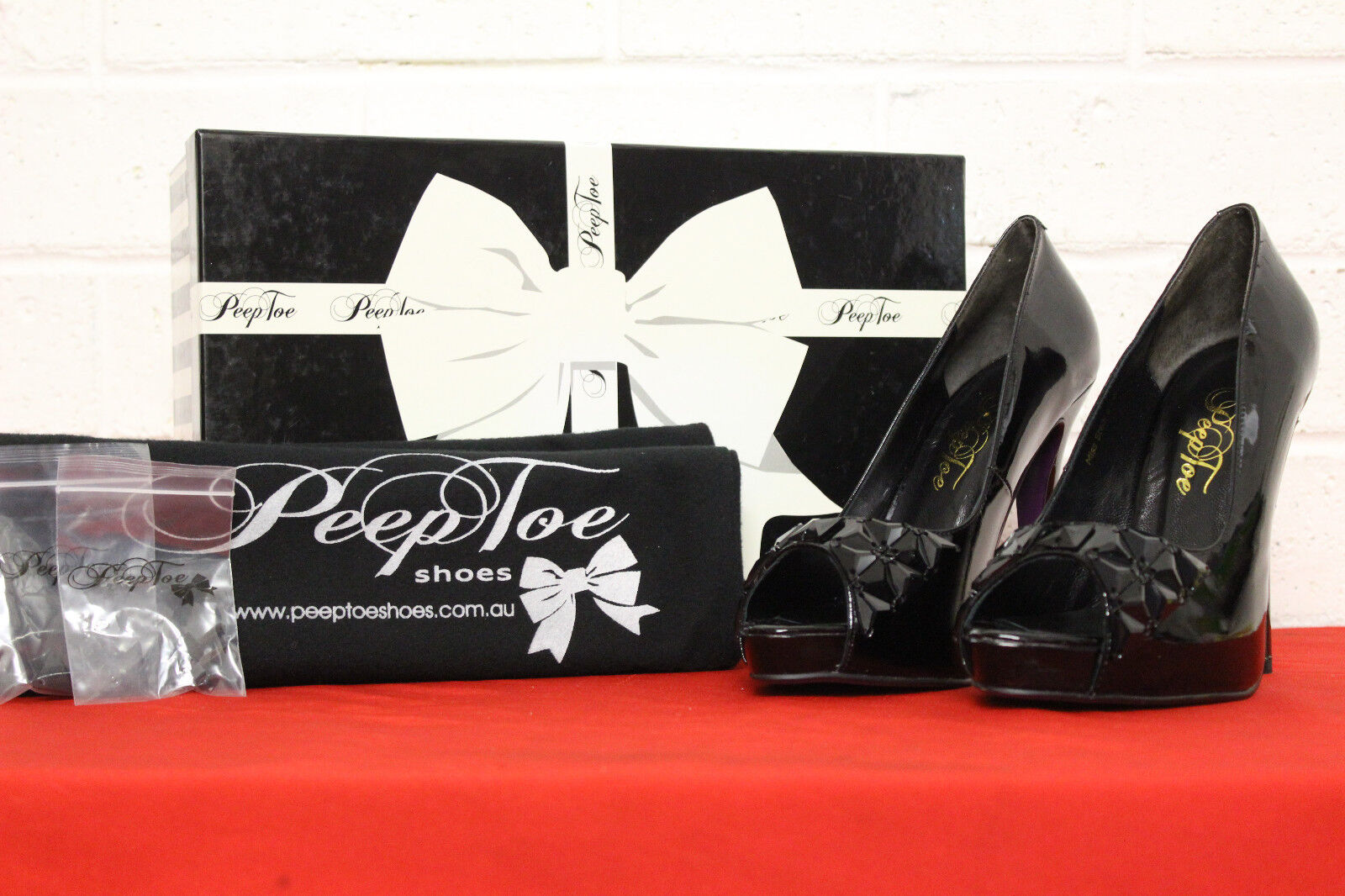 NEW  AUTHENTIC PEEP TOE HIGH HEELS - BLACK - STILETTO - PATENT LEATHER - SIZE 37