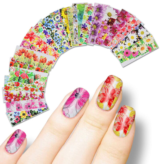 50sheets Mix Flowers Nail Art Water Decal Transfer Stickers ...