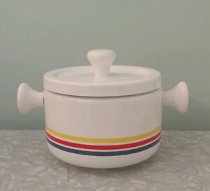 Vintage-Fondue-Pot-White-with-Blue-Red-and-Yellow-Stripes-and-Lid-Wood-Handles