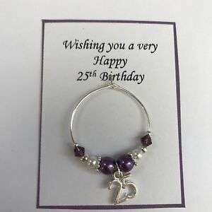 Details About Wine Class Charm 18th 21st Coming Of Age Purple Birthday Present In Gift Bag