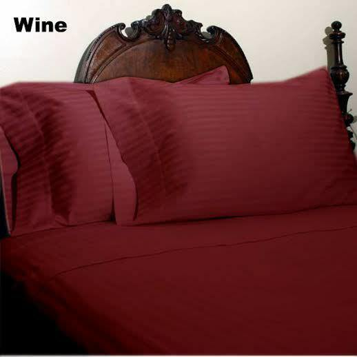 """1000 TC Egyptian Cotton Bedding Fitted//Sheet Set Extra Deep Pkt Wine Stripe/"""""""