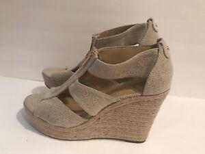 Michael-Kors-Berkley-Wedge-Espadrille-Women-039-s-Sandals-Fabric-Natural-Size-10-M