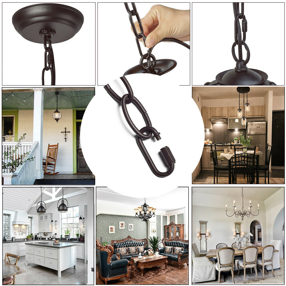 LALUZ 19 feet Black Ceiling Lighting Fixture Chain with 2 Adjustable Buckles Extra Loop for Chandelier