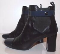 TOD'S Women's Boots Black & Blue Leather & Patent Leather Pull On Size 38.5 EUR