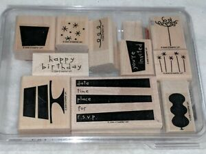 Eat Cake Birthday Invite Stamp Stampin Up Stamps Invitation Stamps RSVP Stamp Rubber Stamp Set Time Date Place