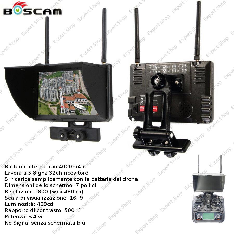 Monitor FPV 7  con ricevente e batteria ricaricabile per drone con trasmissione
