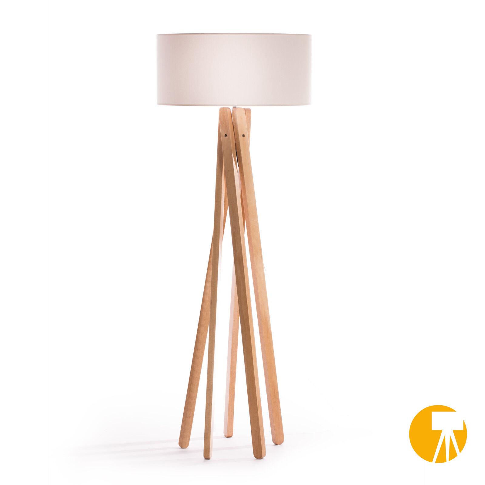Design Lampadaire H trépied Lampe Hêtre Bois Lampe H Lampadaire = 160cm trépied Lampadaire Blanc 4abb97