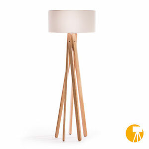 design stehlampe tripod leuchte buche holz lampe h 160cm stativ stehleuchte wei ebay. Black Bedroom Furniture Sets. Home Design Ideas