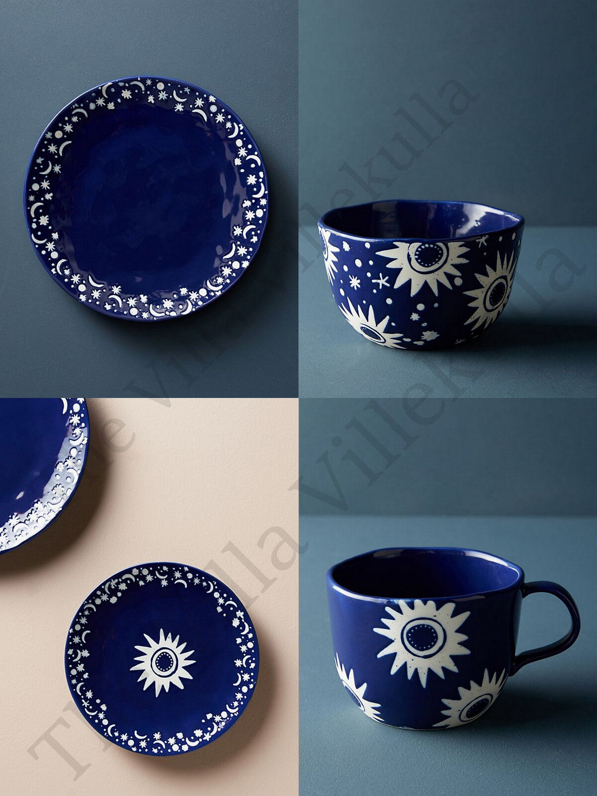 New Anthropologie  Solstice    Full 8 Piece Dinner Set Beautiful Celestial Design c991ef