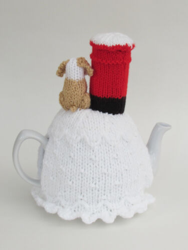 Dog Posting a Letter Tea Cosy Knitting Pattern to knit your own Xmas Tea Cosy