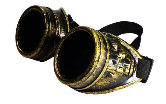 Welding Goggles in Rustic Steampunk Style for Cosplay and Fancy Dress in Brass