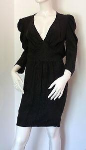 Rutzou-Black-Deep-Plunge-Neck-Silk-Dress-Size-34-BNWT-FREE-UK-P-amp-P