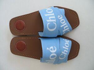 $370 Chloe NIB AUTH Logo Graceful Blue Ribbons Mule 36 Canvas Woody Flat Slides