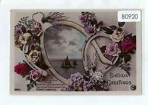 B0920cgt-Greetings-Birthday-Horseshoe-yachts-Pu1911-vintage-postcard