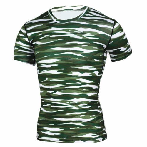 Mens Short Sleeve Shirt Athletic Crew Neck Tee Sports Apparel Tights Long Pants