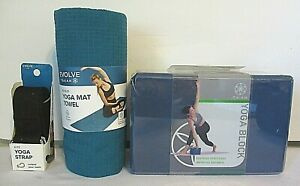 Evolve Gaiam No Slip Blue Yoga Mat Towel Yoga Block Black Yoga Strap Ebay