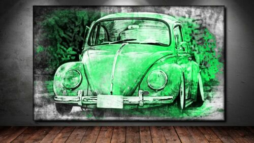 Canvas picture he XXL Pop Art VW Beetle Beetle Abstract Graffiti Poster 150x90