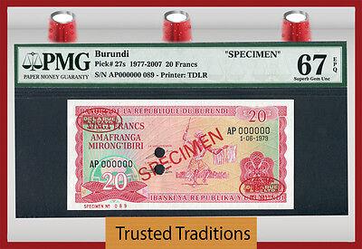 "Coins & Paper Money At Any Cost Honest Tt Pk 27s 1977-2007 Burundi 20 Francs ""specimen"" Pmg 67 Epq Superb None Finer"