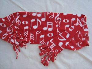 """Fleece MUSIC Scarf 48"""" x 9"""" RED with White Notes Great Music Gift Brand NEW"""