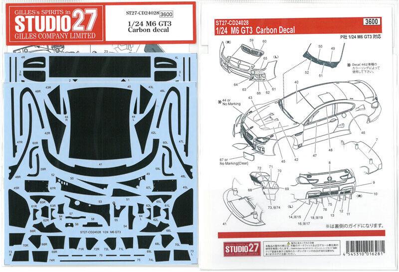 Studio27 1 24 BMW M6 Gt3 Carbon Aufkleber für Platz Cd24028 Abziehbild NEU VON