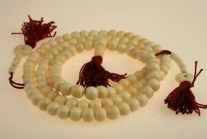 Elegante Bianchi ossa mala 108 Perle Rosso Buddismo Buddha Nepal SFERA Counter 55