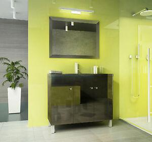 mineralguss waschbecken mit unterschrank badm belset 100 cm schwarz hochglanz. Black Bedroom Furniture Sets. Home Design Ideas