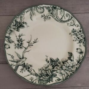 NEW (4) 222 FIFTH ADELAIDE SPRUCE GREEN FLORAL BIRD DINNER PLATES HOME DECOR