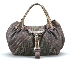 Image is loading Fendi-Brown-Nappa-Leather-and-Monogram-Canvas-Tortoise- 5e307dddcb2ed