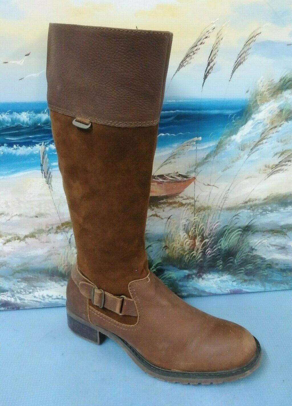SONOMA 73277 WOMENS SUEDE LEATHER FASHION BOOTS SIZE 8.5 M CARLOTA BROWN