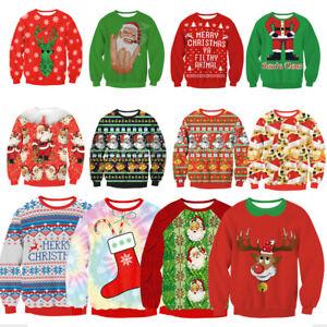 Cute UGLY XMAS CHRISTMAS SWEATER Vacation Santa Elf Funny Women Men ...