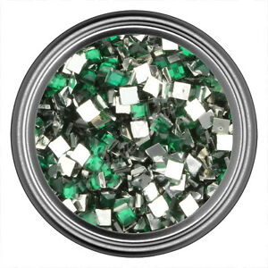 Green-Square-Rhinestone-Gems-Flat-Back-Face-Art-Nail-Art-Jewels-Decoration-2mm