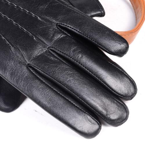 Men/'s Genuine Leather Goat Skin Wrist Button Winter Warm Touch Screen Gloves