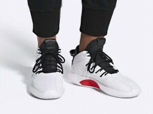 best authentic b94dd 1f269 Image is loading Adidas-Crazy1-ADV-Mens-AQ0320-White-Black-Red-
