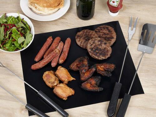 Homiu BBQ set of 3 Grill Mats Heat Resistant Non-Stick Reusable