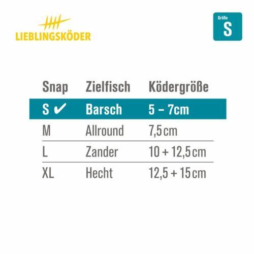 """Lieblingsköder /""""Power Snaps/"""" Einhänger Karabiner Zander Hecht Barsch Jigkopf"""