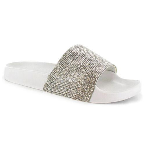 Señoras para mujer Slip On Diamante deslizadores Zapatillas Sandalias Mulas Brillante Talla Zapato