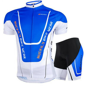 Outdoor Mens Bike Padded Shorts Short Sleeve Jersey Cycling Racing Sets Suits