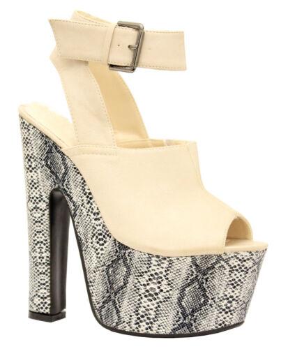Señoras para mujer Super Hi y Correa en el Tobillo de Plataforma Tacón Alto Grueso Sandalias Zapatos Talla