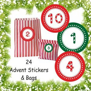 24 Advent Calendar Stickers 24 Red Striped Bags For Boys Or Girls