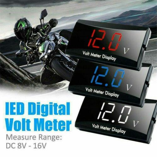 Digital DC 8-16V Red,Blue LED Display Voltmeter Panel Volt Meter 12V Waterproof