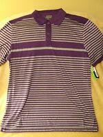 Izod Perform-x Golf Polo Shirt - Adult Mens Purple And Gray Striped