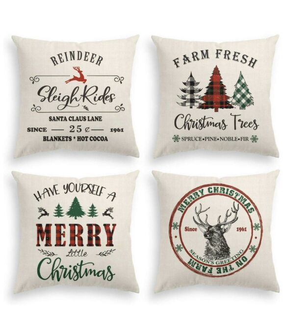 "4 AVOIN Christmas Throw Pillow Covers Holiday Christmas Rustic Farmhouse 18"""