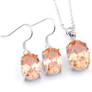 Gorgeous-Shiny-2-Pcs-1-Lot-Natural-Morganite-Silver-Hook-Pendant-Earrings-Set