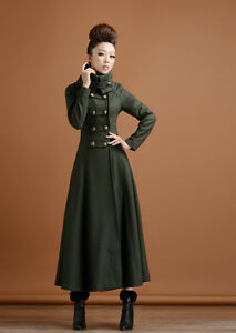 Womens-double-breasted-Stand-Collar-Long-Coat-Full-length-Military-Outwear-Dress