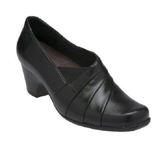 Clarks Everyday donna Active Air nero Leather Slip-On scarpe Dimensione 10W NWOB