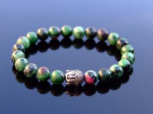 Buddha-Ruby-Zoisite-Natural-Dyed-Gemstone-Bracelet-6-9-039-039-Elasticated-Healing