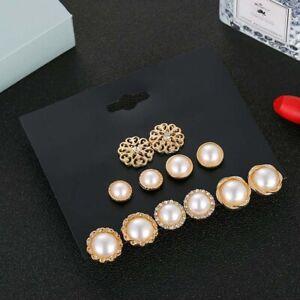Pearl-Earring-Set-Retro-6Pcs-Fashion-Jewelry-Women-Pearl-Flower-Stud-Earrings