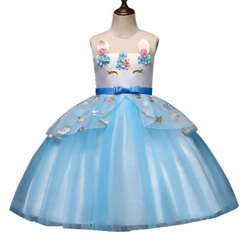 Kids Unicorn Party Tutu Dress Flower Girls Pageant Wedding Princess Dresses Gown