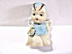VINTAGE CERAMIC MIDCENTURY PIXIE BUTTERFLY SMALL MINIATURE STATUE JAPAN FIGURE